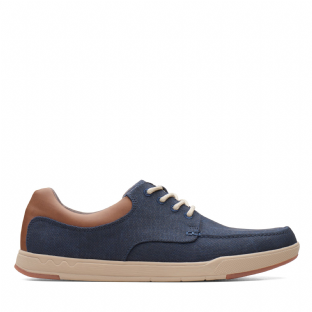 Clarks Mens Step Isle Lace Navy Canvas Shoes